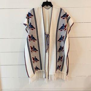 Vintage 70s Fringe Floral Knit Poncho Sweater BOHO